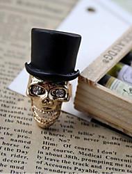 Frauen Golden Skull Kopf mit Hut Ring