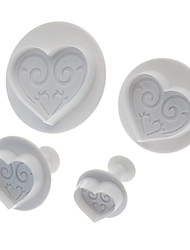 Sweet Heart Shaped Cookie Cutter с поршнем (4 шт)