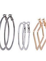 Fashion Einfache Slippy Kreis und Quadrat Hoops Ohrringe Set (3 Paar pro Set)