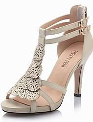 Elegante de cuero sandalias de tacón de aguja con zapatos de fiesta \ noche Hueco-hacia fuera (más colores)