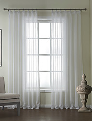 One Pair  Modern Linen Jacquard Solid Sheer Curtain