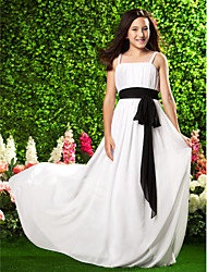 Sweep / Brush Train Chiffon Junior Bridesmaid Dress Sheath / Column Spaghetti Straps Empire with Bow(s) / Draping / Sash / Ribbon