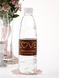 Garrafa de água personalizada Etiqueta - Love (amarelo / Set de 15 Brown)