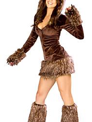 Costume Cutie Brown Raccoon Acrílico Spandex com capuz mulheres de vestido