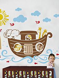 Boot mit zehn Tiere Wandaufkleber