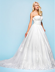 Lanting Ball Gown Plus Sizes Wedding Dress - Ivory Court Train Strapless Organza/Tulle