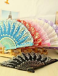 Asain Tema Plastic Fan Hand - Conjunto de 4 (cores misturadas, Padrão Floral Misto)