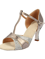 Customized Women's Sparkling Glitter & Leatherette Upper With T-Strap Dance Shoes