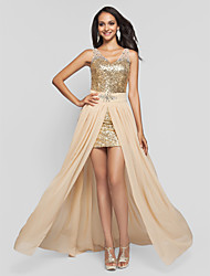 Formal Evening/Prom/Military Ball Dress - Champagne Plus Sizes Sheath/Column V-neck/Straps Short/Mini/Floor-length Sequined/Chiffon