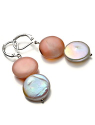 14k/20 or blanc AA10-11mm Bouton perle d'eau douce et Rhodonite ensemble Earring