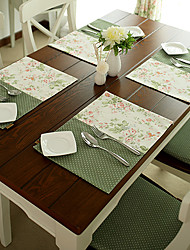 Set di 4 French Country Style Placemates poliestere / cotone