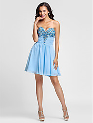 TS Couture® Cocktail Party / Prom Dress - Short Plus Size / Petite A-line / Princess Strapless / Sweetheart Short / Mini Chiffon with Beading