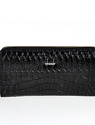 YFALAN Fashion Krokodil Venen Leather Wallet (Black)