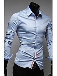 Herren Hemd-Einfarbig Freizeit Baumwollmischung Lang Blau / Weiß