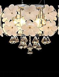 moderna cristallo 6 ciondolo luce led decorato con fiori