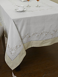 White Poly / Cotton Blend Rectangular Table Cloths