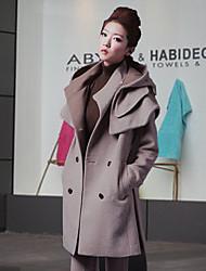 Women's Gray Coat , Casual Tweed/Wool