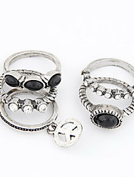 Fashion Alloy With Rhinestone Women's Rings(Set Of Five)More Colors