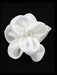 White Imitation Pearl Cloth Flower Wedding Bridal Brooch