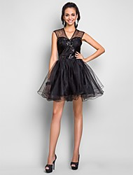 A-Line V-neck Short / Mini Tulle Cocktail Party Prom Sweet 16 Dress with Draping Criss Cross Sequins by TS Couture®