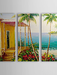 Hand Painted Oil Painting Landscape Sea and House with Stretched Frame Set of 3 1307-LS0382