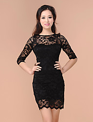 SWEET POWER Black Lace Bodycon Dress Two Pieces