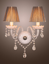 Crystal Wall Light with 2 Lights in White Fabric Shade