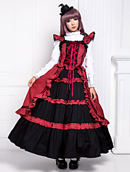 One-Piece/Dress Gothic Lolita Victorian Cosplay Lolita Dress Patchwork Sleeveless Long Length Dress For Cotton