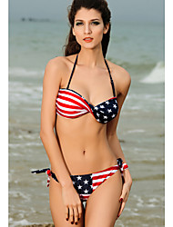 Twist Bandeau Stripes and Stars Bikini Set