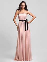 Floor-length Chiffon Bridesmaid Dress - Pearl Pink Plus Sizes / Petite Sheath/Column Strapless