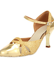 Customizable Women's Dance Shoes Modern Sparkling Glitter Customized Heel Gold