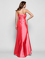 Sheath / Column Scalloped Floor Length Taffeta Prom Dress with Beading by TS Couture®