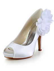 Elegante de cetim de salto alto peep toe Pumps com flor sapatos de casamento (mais cores)