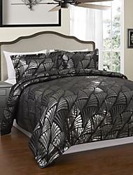 3 peças de estilo moderno preto floral jacquard edredon cobrir definido
