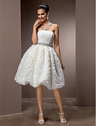 Lanting A-line/Princess Plus Sizes Wedding Dress - Ivory Knee-length Strapless Lace