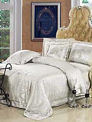4PCS Jacquard Cinza Floral Duvet Cover Set