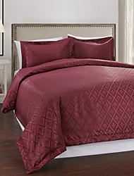 3-Piece Modern Style Red Diamond Jacquard Duvet Cover Set