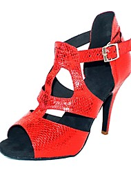 Customizable Women's Dance Shoes Latin/Ballroom Leatherette Customized Heel Red