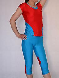 Red and Blue Spandex Nylon Exercício Suit