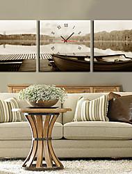Stile moderno grigio orologio da parete in tela 3pcs