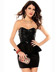 Schwarz Pailletten Schößchen-Kleid (Hip :90-104cm Länge: 105cm)