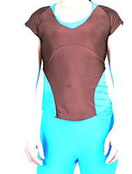 Brown und Sky Blue Spandex Nylon Übung T-shirt