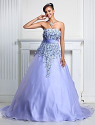 A-Line Ball Gown Strapless Court Train Organza Prom Formal Evening Quinceanera Sweet 16 Dress with Lace Ruching by TS Couture®