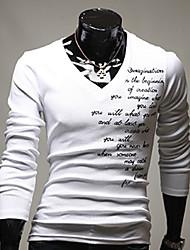 Herren V-Ausschnitt gesticktes T-Shirt