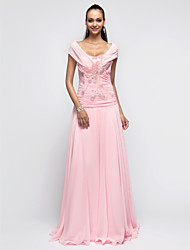 TS Couture Prom Formal Evening Military Ball Dress - Open Back A-line Princess Halter Floor-length Chiffon with Beading Ruching Sequins
