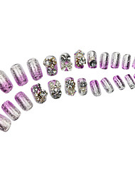 24Pcs Bowknot Glitter Power Rhinestone Studded Long Nail Tips Purple&Silver Gradient With Glue