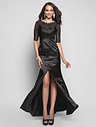 Trumpet/Mermaid Jewel Floor-length Stretch Satin And Tulle Evening Dress