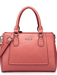 Nucelle Solid Color Cow Leather Dual Purpose Tote Red