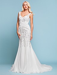 Mermaid / Trumpet V-neck Court Train Chiffon Wedding Dress with Beading Appliques by LAN TING BRIDE®
