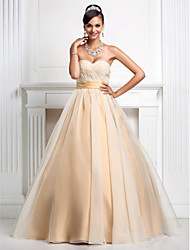 Ball Gown Princess Strapless Sweetheart Floor Length Organza Prom Quinceanera Dress with Beading by TS Couture®